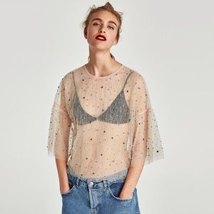 NWT Zara AW17 Size M Jeweled Tulle Blouse